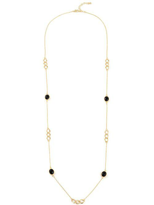 Faux Gem Oval Circle Sweater Chain - GOLDEN