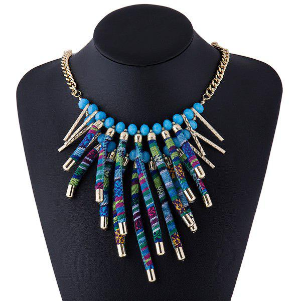 Bar Rope Layered Tasseled Necklace - BLUE