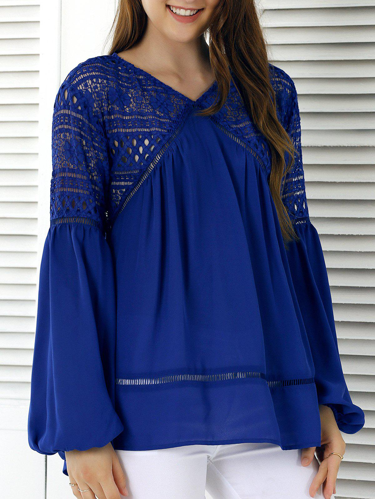 Lace Splicing Lantern Sleeve Hollow Out Blouse - SAPPHIRE BLUE XL