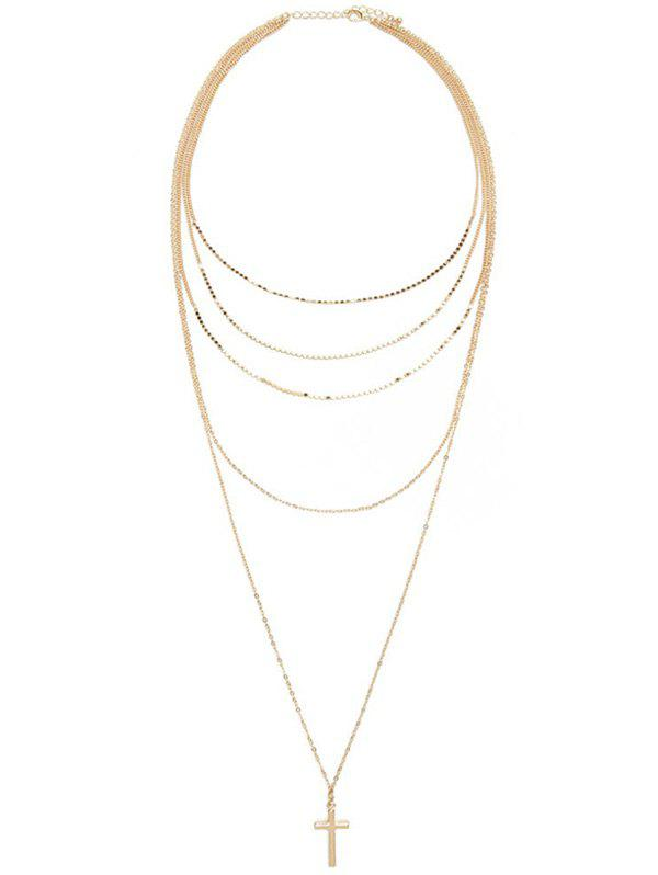 Layered Pendentif croix Adorn Pull Chain - Or