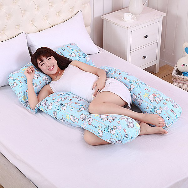 Soft Cartoon Bear Pattern Multifunctional U Style Pregnant Body Pillow - AZURE