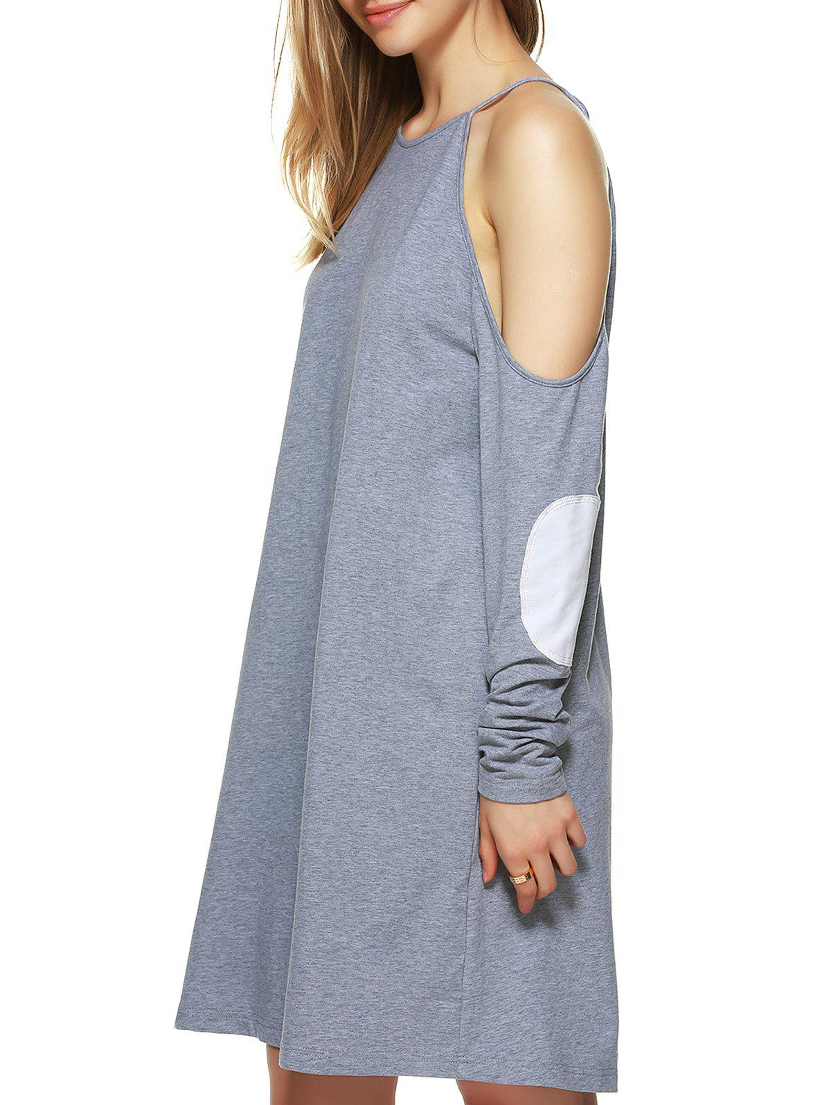 Cold Shoulder Appliqued Shift Dress - GRAY XL