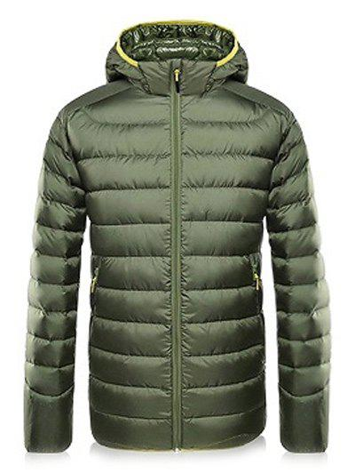 Pockets Design Color Spliced Zipper-Up Hooded Padded Jacket