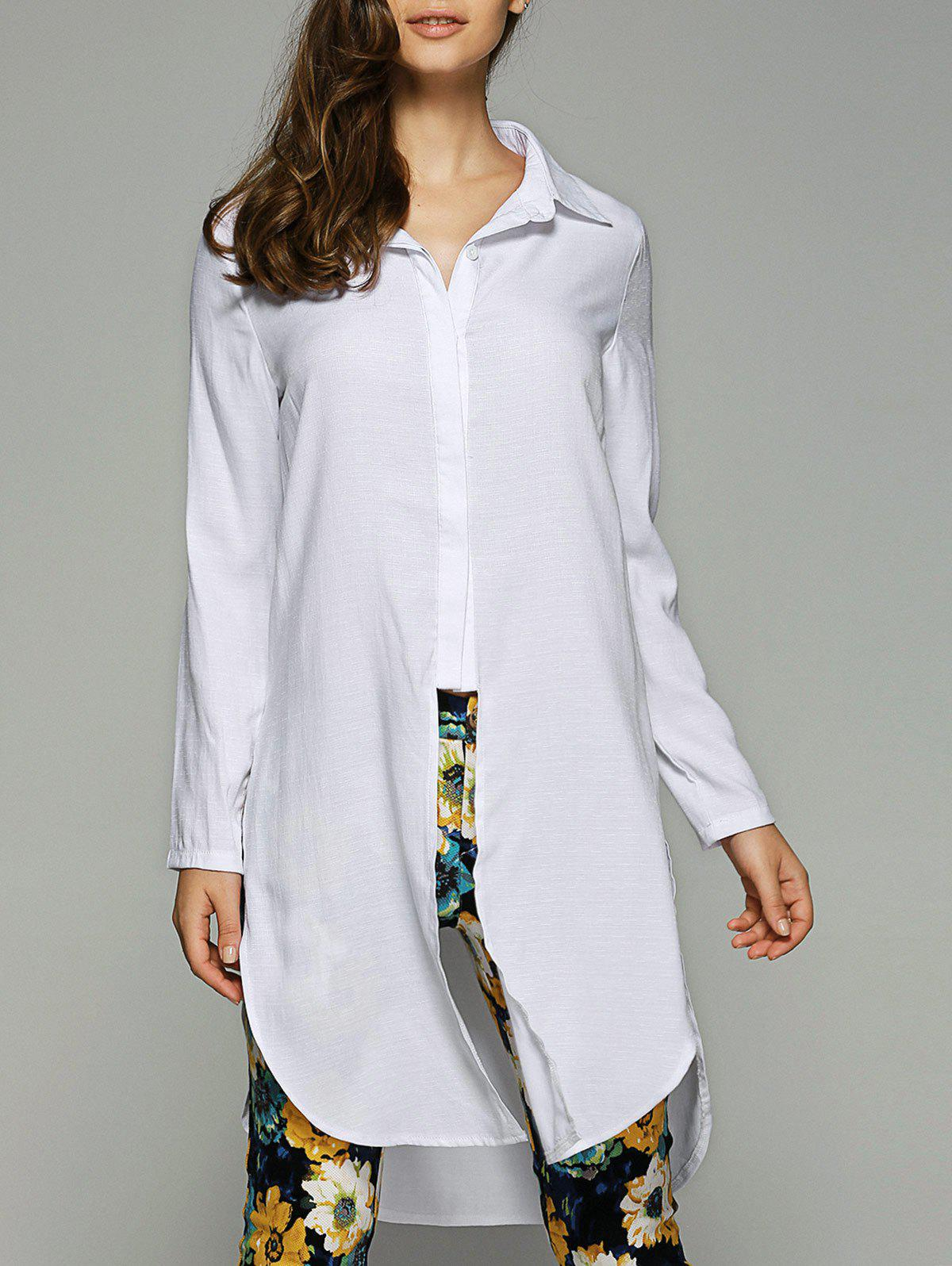 Side Slit High-Low Shirt Collar Long Sleeve Shirt - WHITE XL