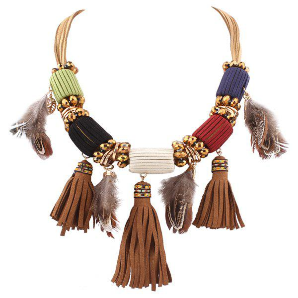 Faux Leather Feather Fringed Necklace - COLORMIX