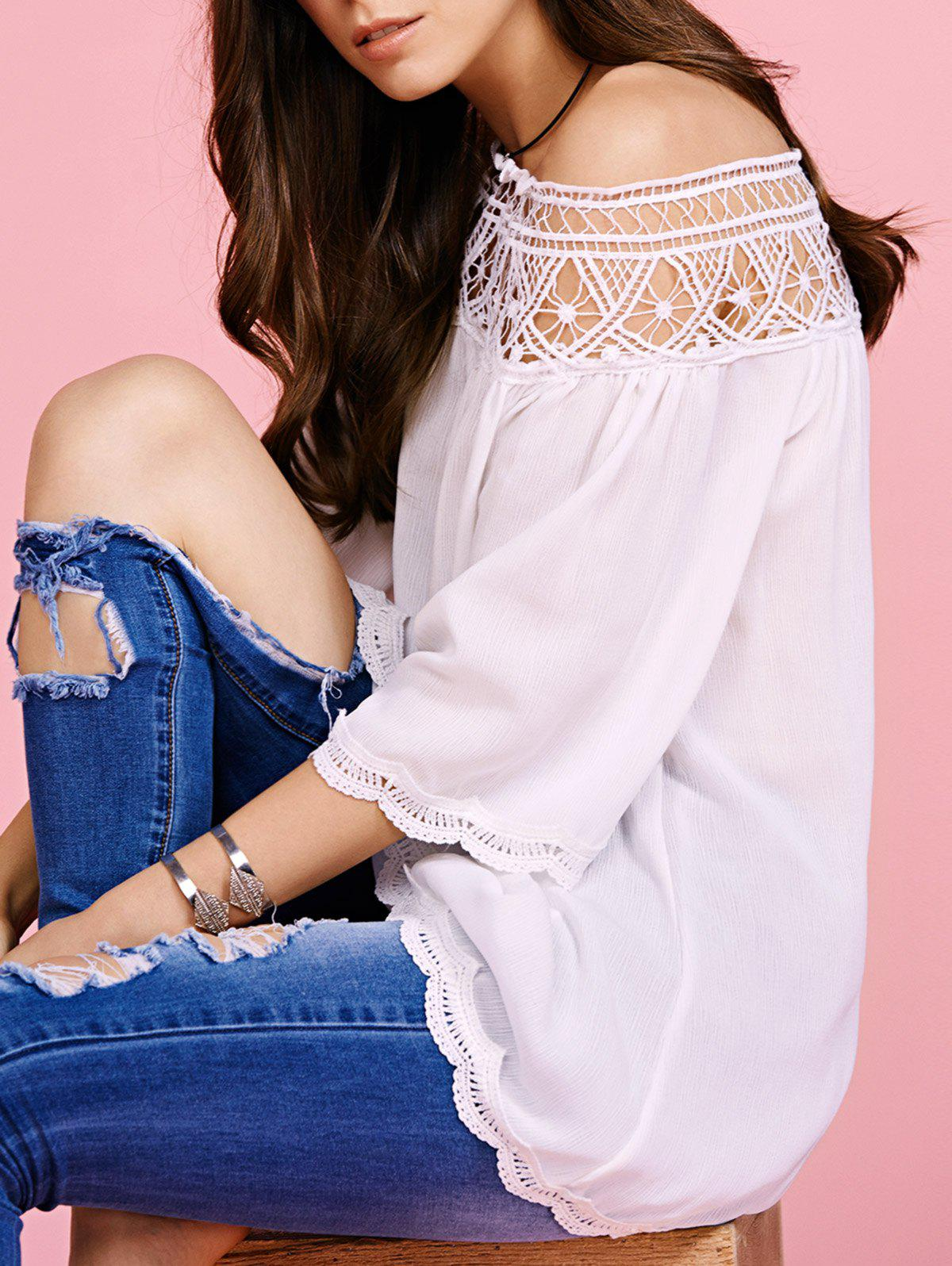 Trendy Off The Shoulder Cut Out Blouse For Women - WHITE L