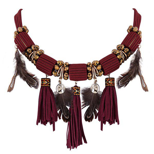 Ethnic Style Tassel Feather Necklace - RED