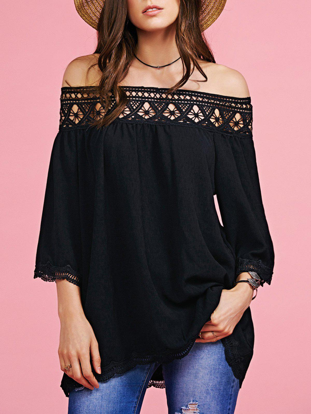 Trendy Off The Shoulder Cut Out Blouse For Women - BLACK L