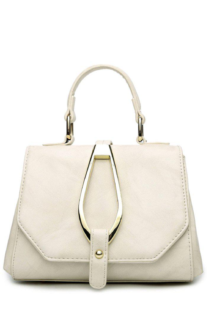 Stitching Magnetic Metal Flap Tote Bag - OFF WHITE