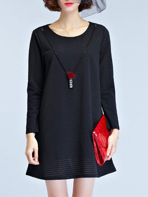 Knitted Long Sleeve Dress - BLACK L