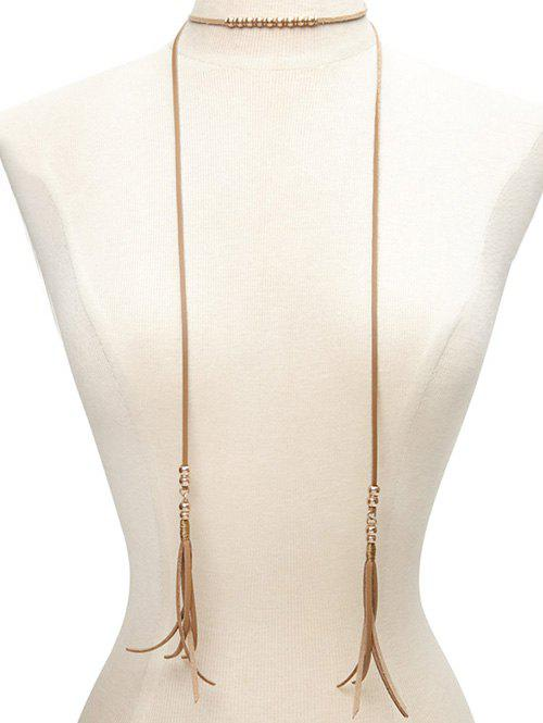 Faux Leather Beaded Bolo Tie Choker - BROWN