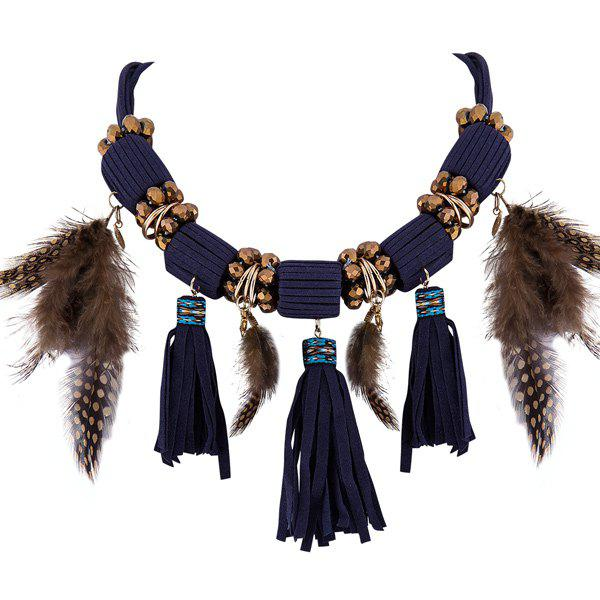 Coin Feather Tasseled Layered Necklace - PURPLISH BLUE