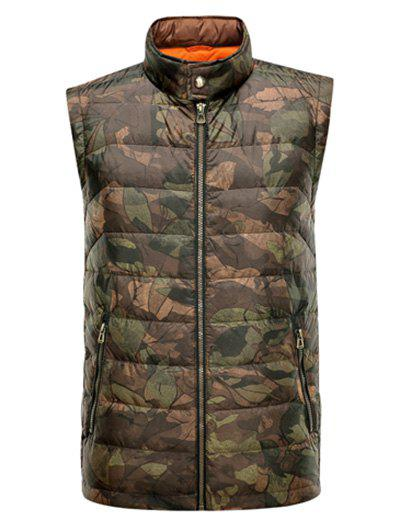 Stand Collar Camo Zippered Padded Waistcoat