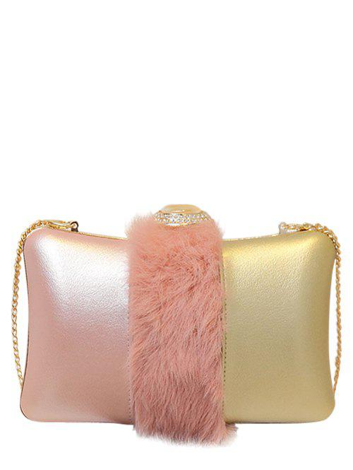 Chains Faux Fur Rhinestone Evening Bag - PINK