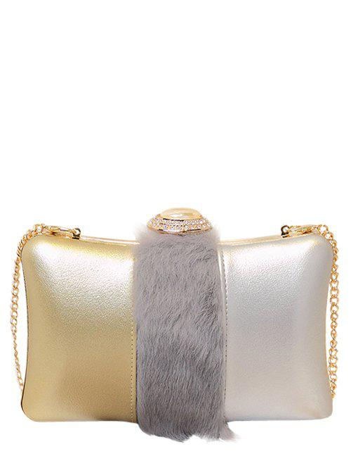 Chains Faux Fur Rhinestone Evening Bag - GRAY