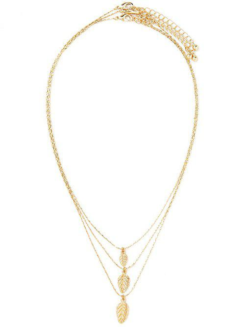 Multilayered Alloy Leaf Pendant Necklace - GOLDEN