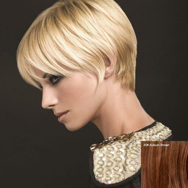 Outstanding Short Side Bang Straight Real Natural Hair Capless Wig - AUBURN BROWN