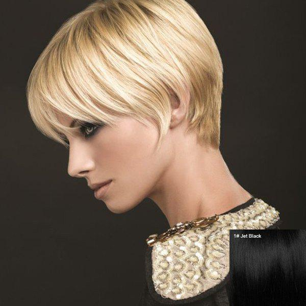 Outstanding Short Side Bang Straight Real Natural Hair Capless Wig - JET BLACK