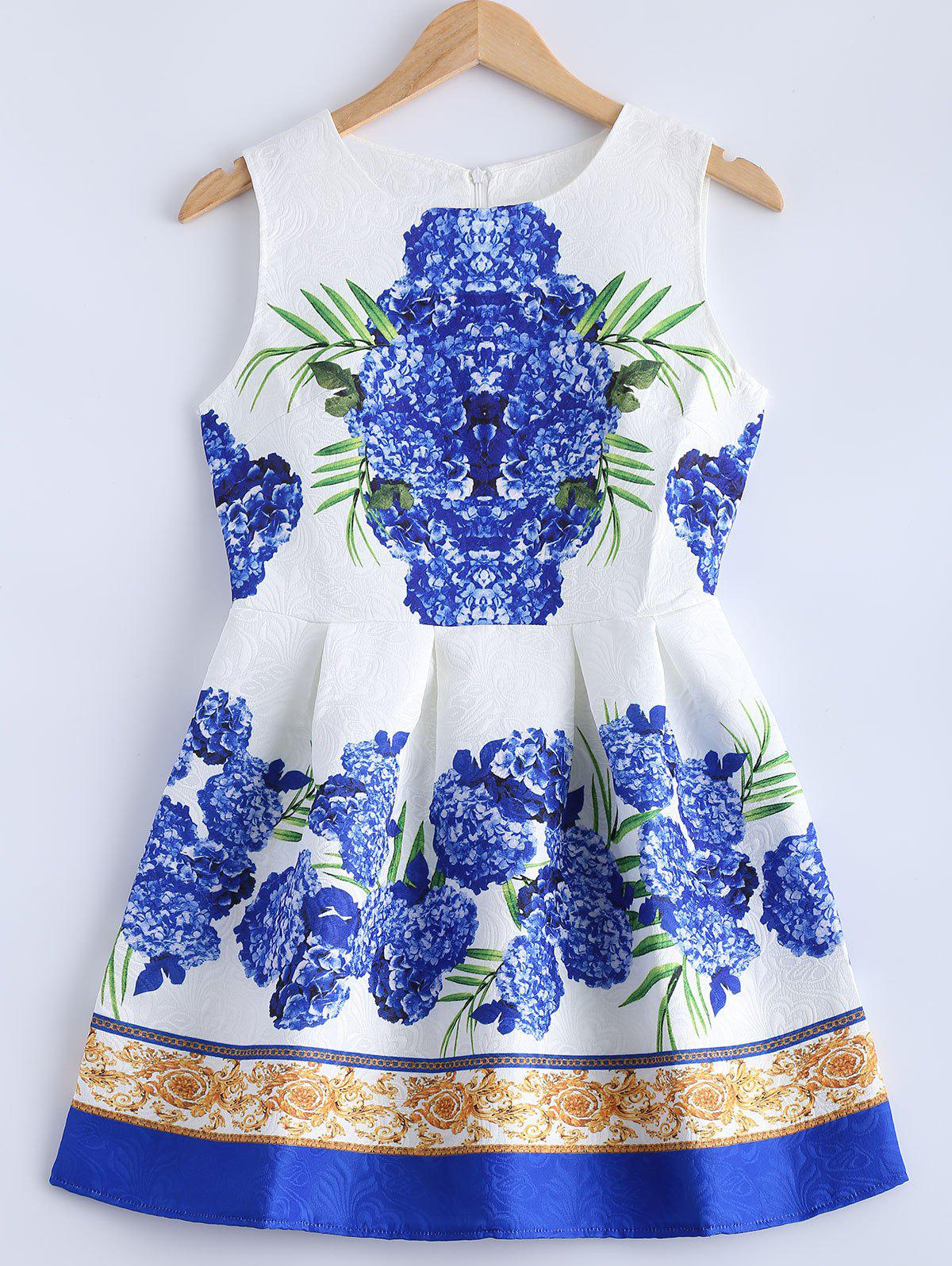 Textured Floral Print Pleated Dress