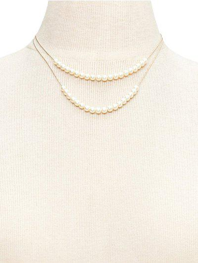 Double Layered Faux Pearl Wedding Jewelry Necklace - WHITE