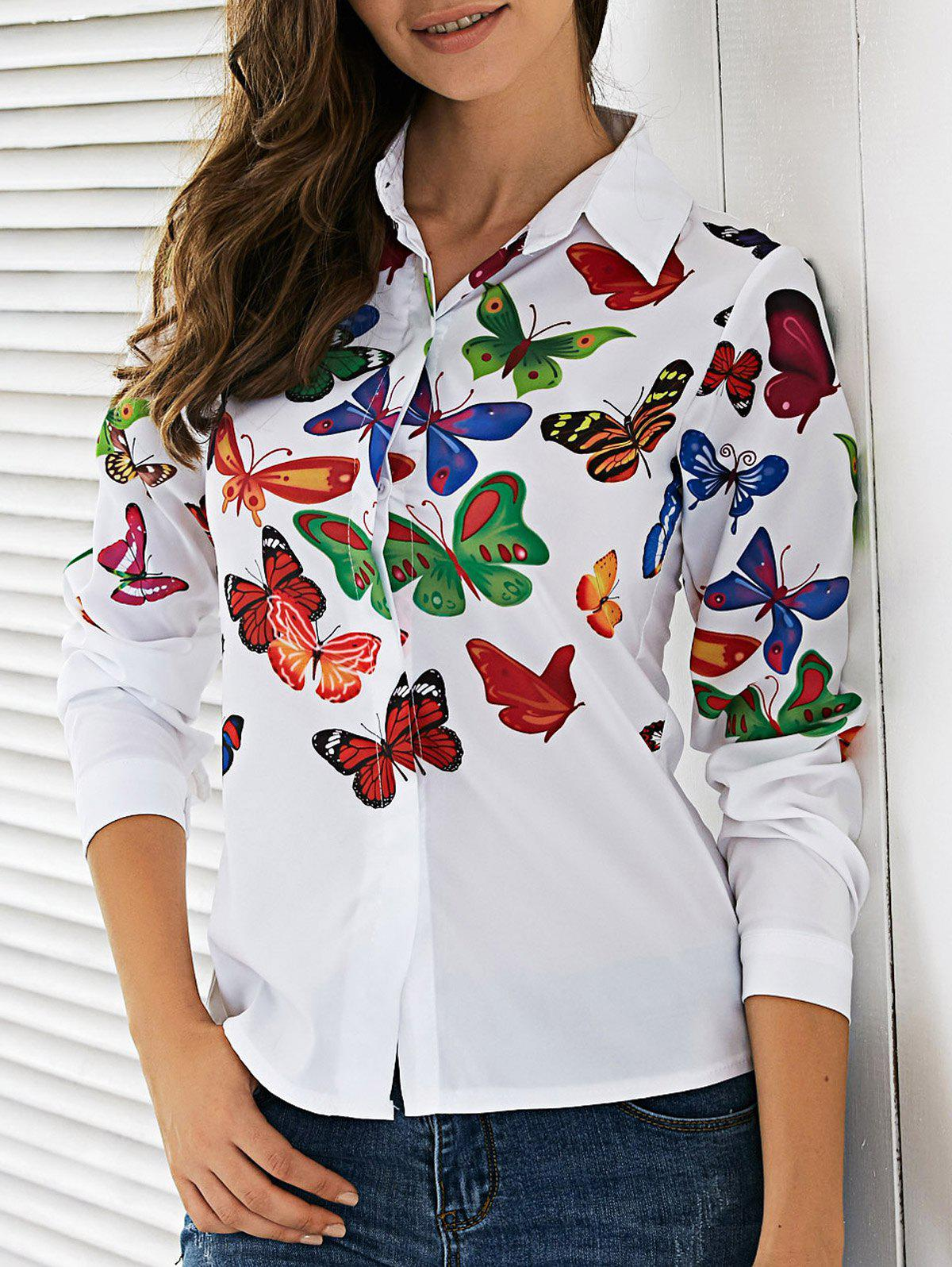 Colorful Butterfly Pattern Shirt - WHITE XL