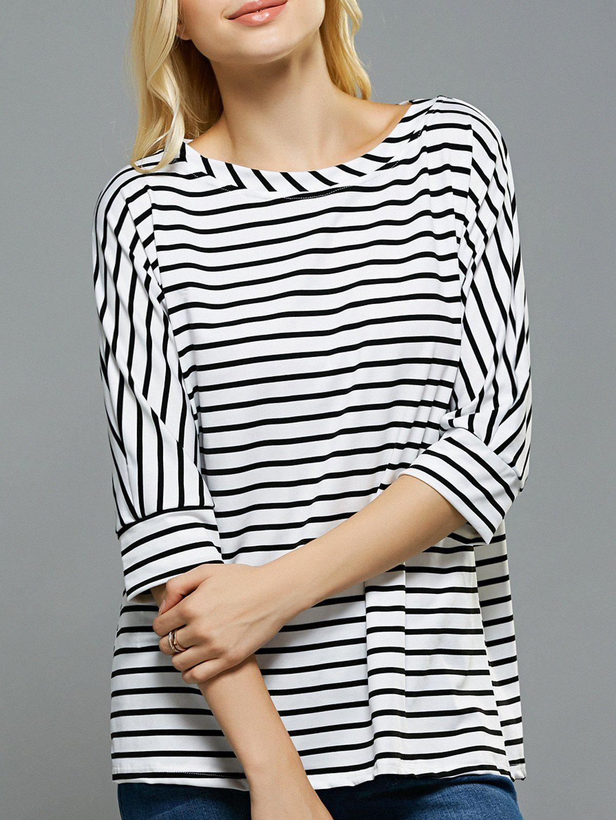 Loose Fitting Dolman Sleeves Striped T-Shirt - STRIPE XL