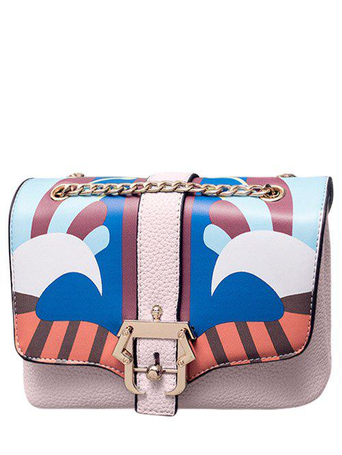 Chain Magnetic Closure Striped Pattern Crossbody Bag - LIGHT PINK