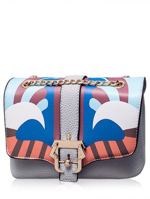 Chain Magnetic Closure Striped Pattern Crossbody Bag - GRAY