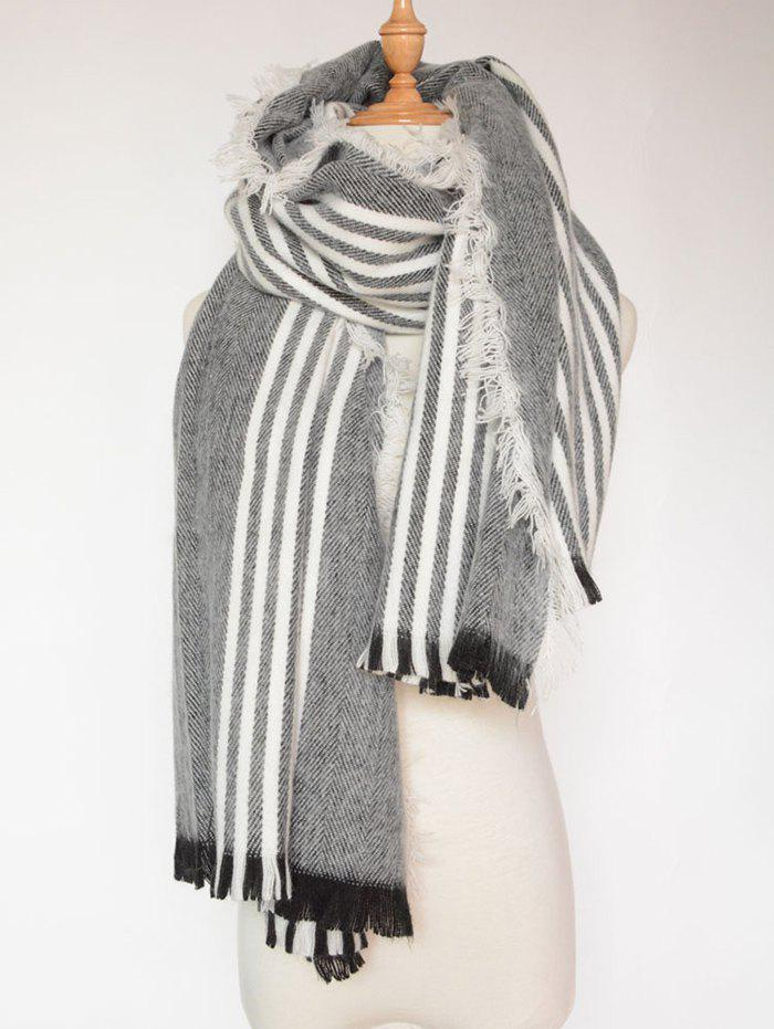 Autumn Stripe Pattern Fringed Shawl Wrap Scarf - BLACK