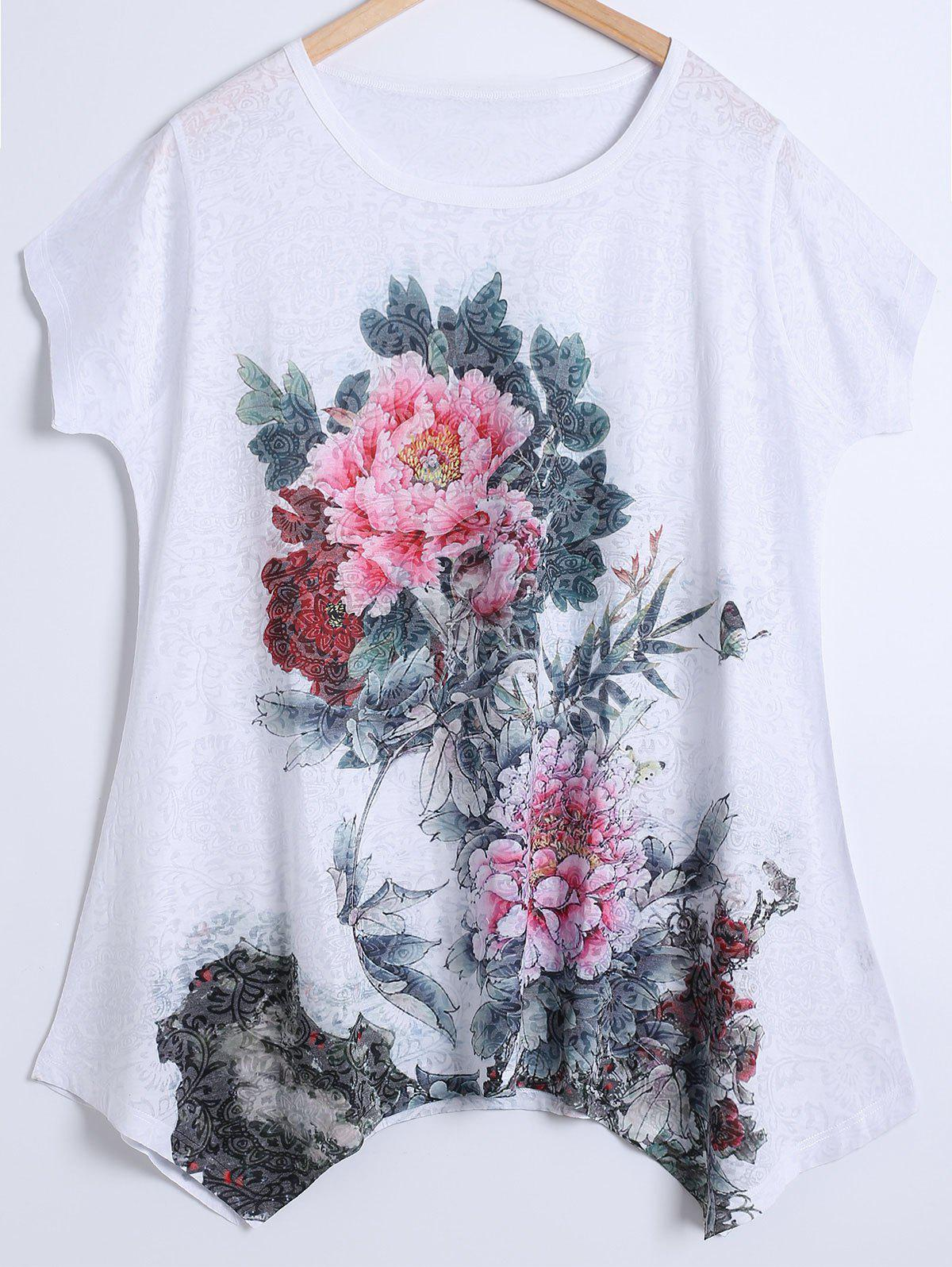 Plus Size Peony Pattern Tee - RED 4XL