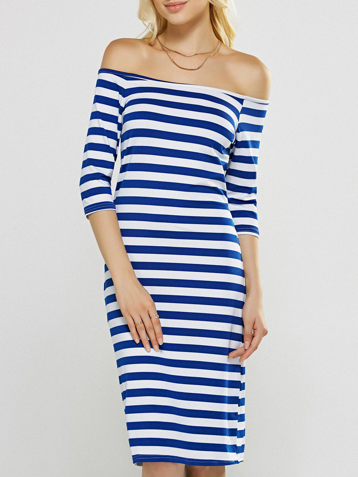 Off-The-Shoulder Striped Sheath Dress - BLUE XL