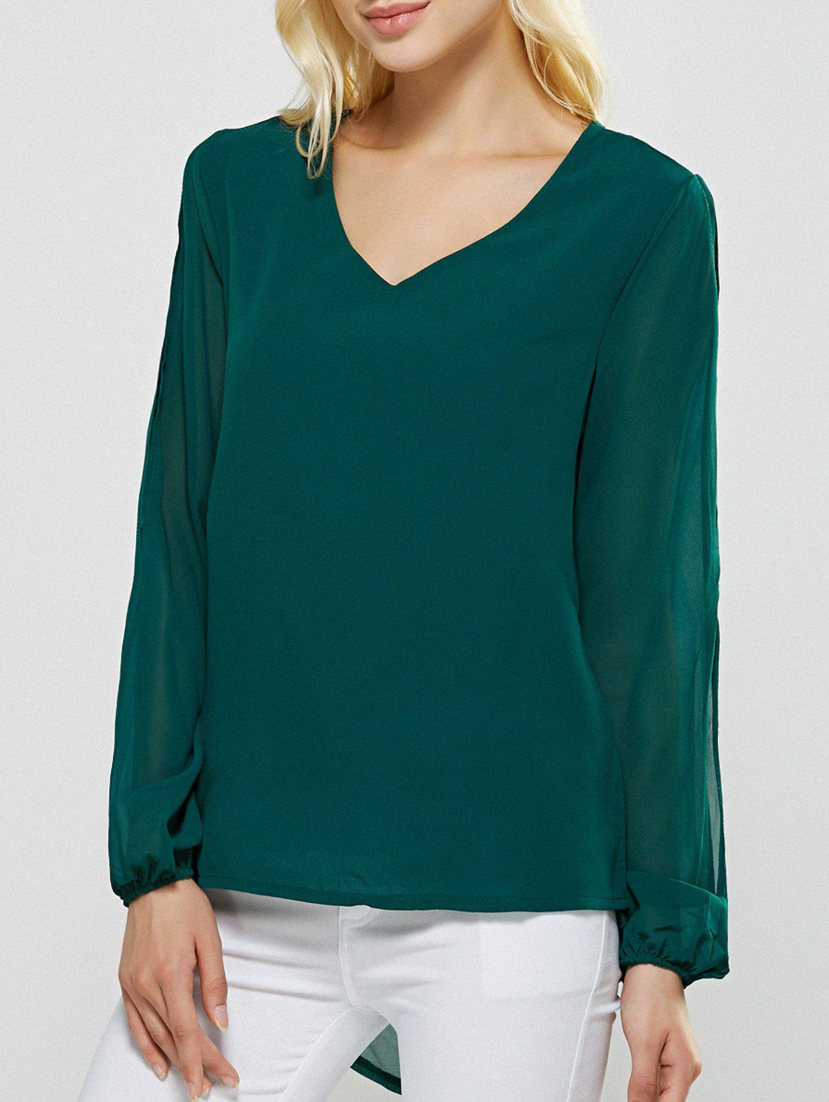 V-Neck Slit Sleeve High Low Blouse - GREEN XL