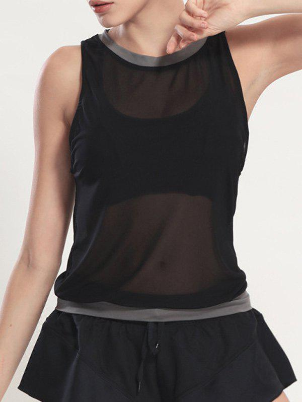 See Through Blouson Gym Running Tank Top - BLACK M