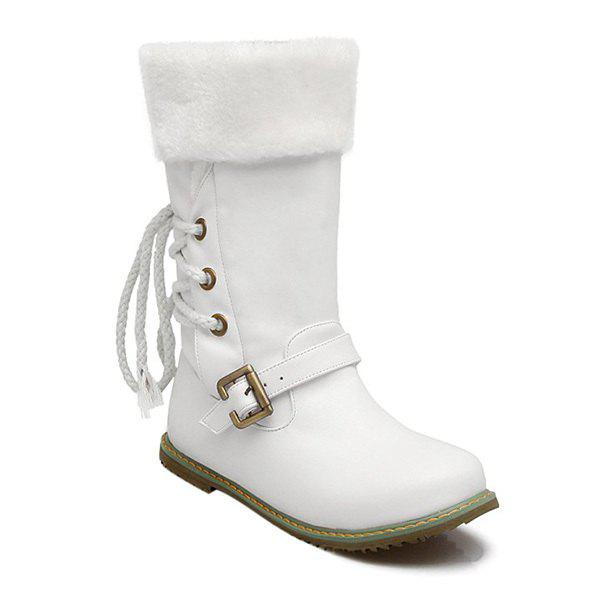 Tie Up Belt Buckle Mid Calf Boots - 39 WHITE