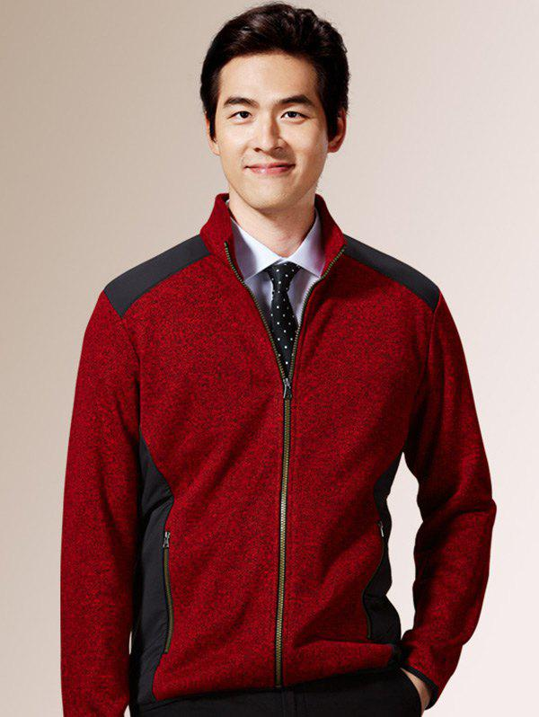 Stand Collar Zippered Color Splicing Napping Jacket - RED S