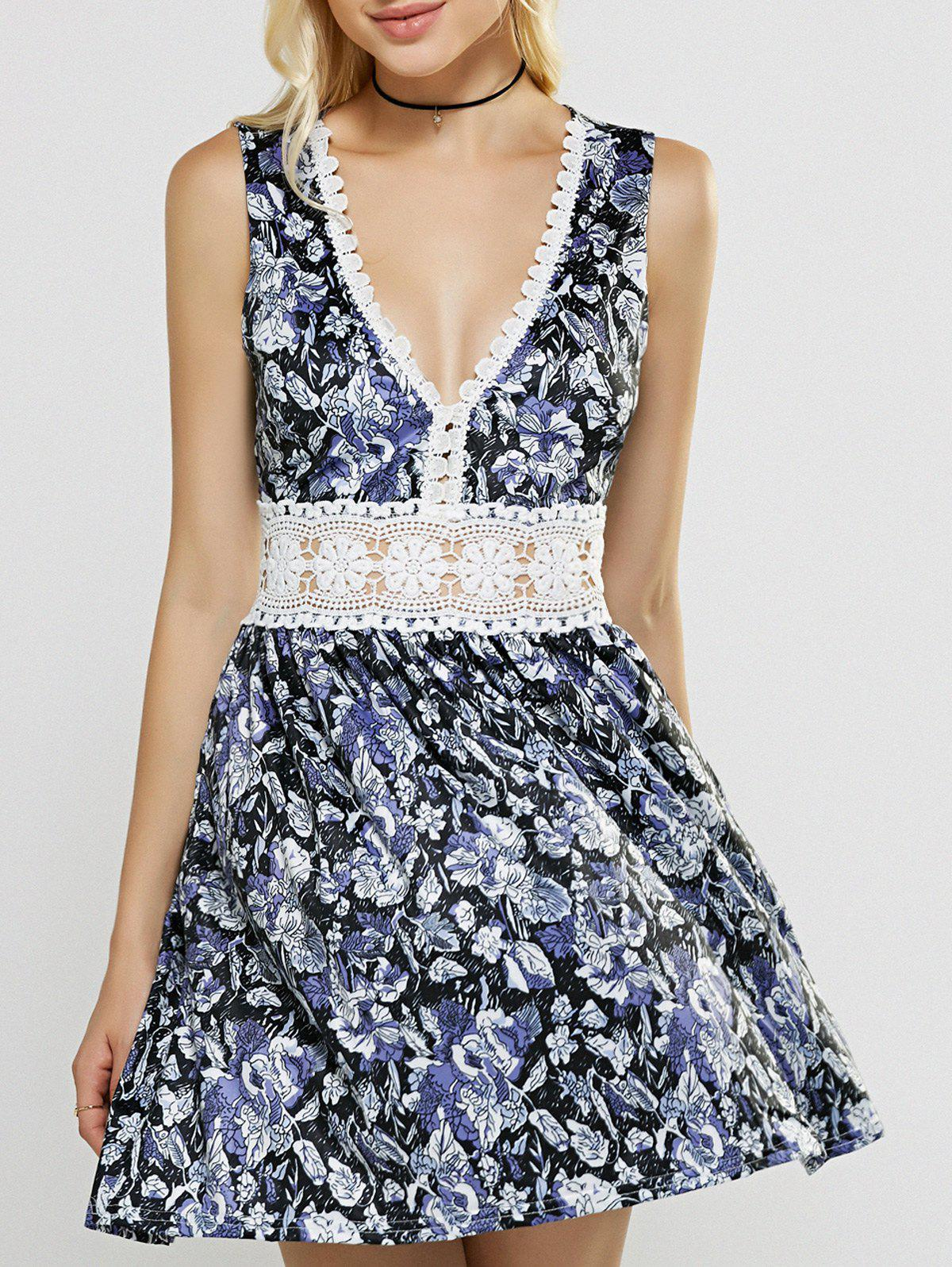 Plunging Neck Laciness Hollow Out Floral Dress