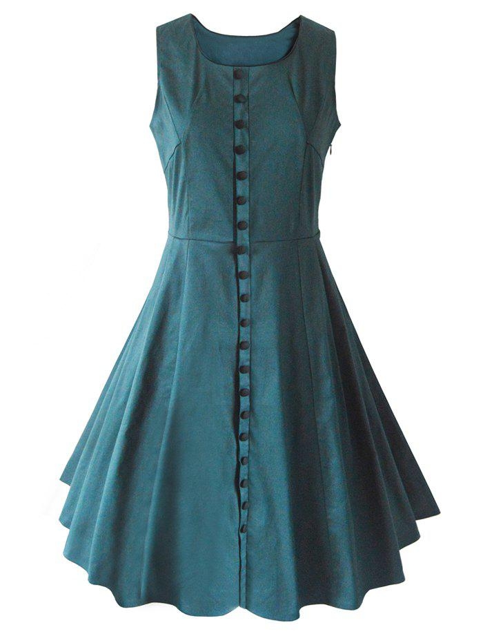 Buttoned Sleeveless Flare Dress - BLACKISH GREEN 2XL