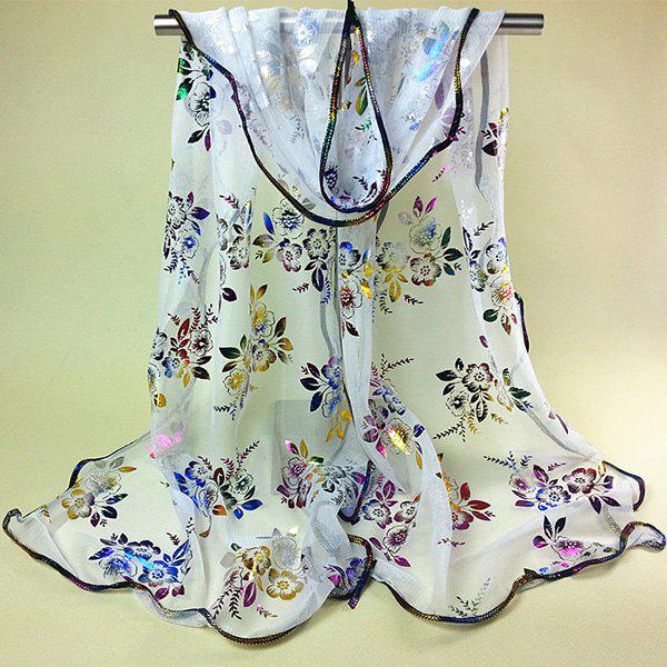 Chinese Yunnan Colorful Flowers Pattern Covered Edge Soft Scarf - WHITE