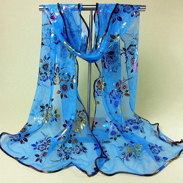 Chinese Yunnan Colorful Flowers Pattern Covered Edge Soft Scarf, Lake blue