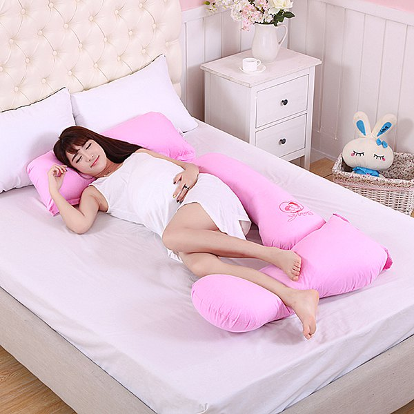 Soft Multifunctional U-Shaped Detachable Cotton Pregnant Body Pillow - SHALLOW PINK