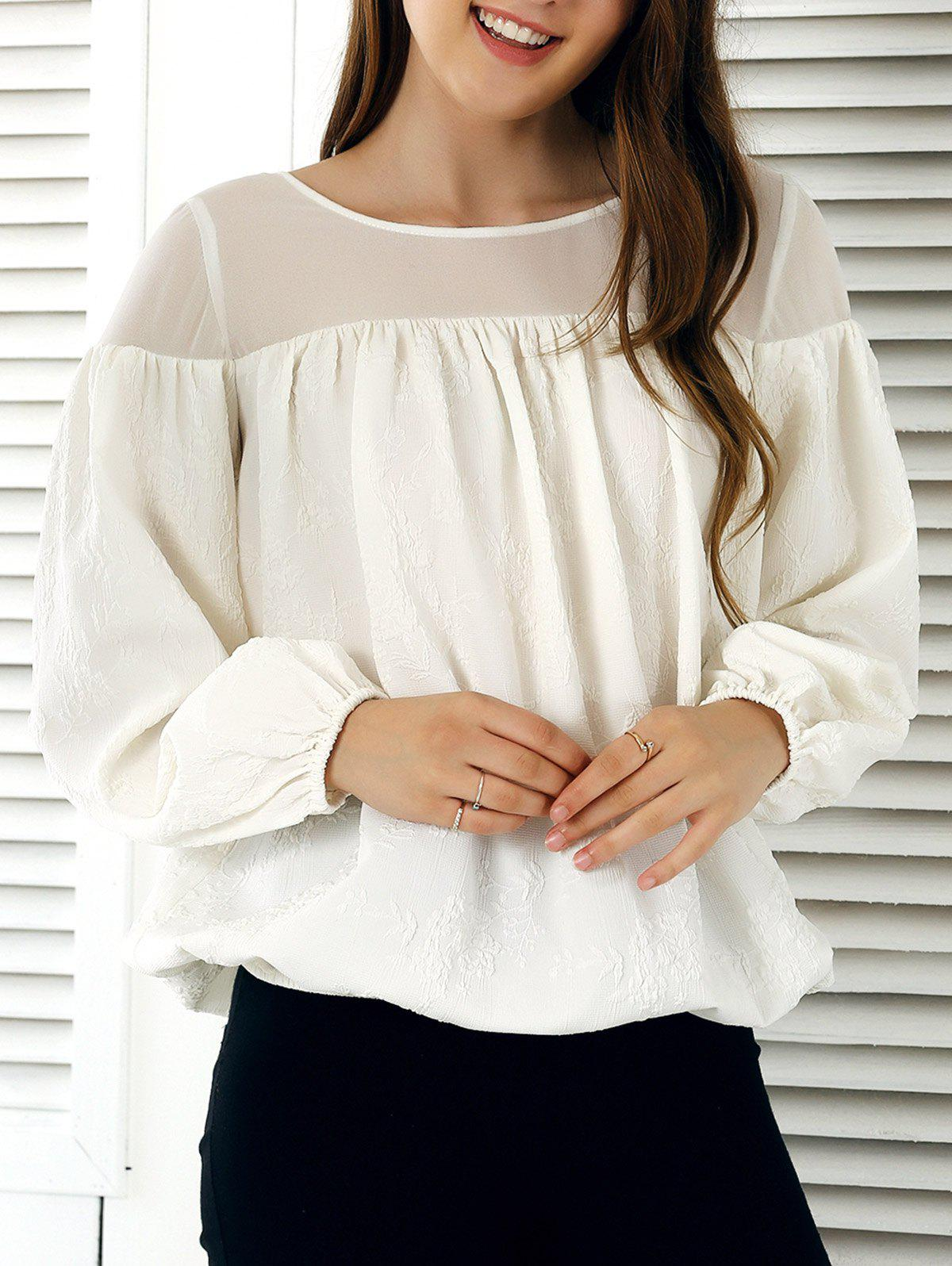 Lantern Sleeve Tie Back Blouse - OFF WHITE XL