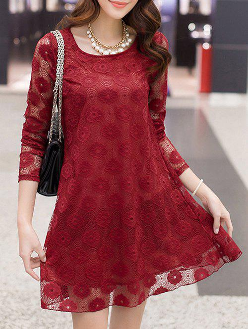 Openwork Lace Swing Dress - WINE RED 4XL