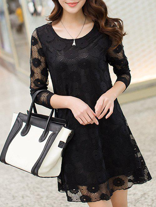 Openwork Lace Swing Dress - BLACK 3XL