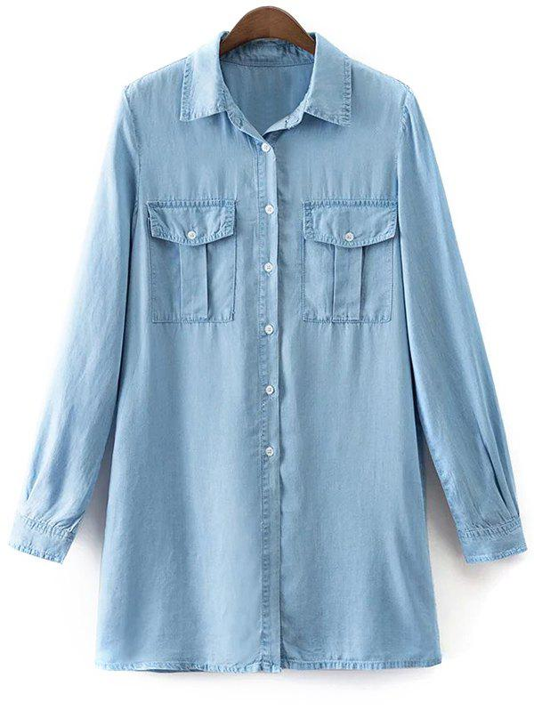 Shirt Neck Long Sleeve Denim Shirt Dress - LIGHT BLUE L