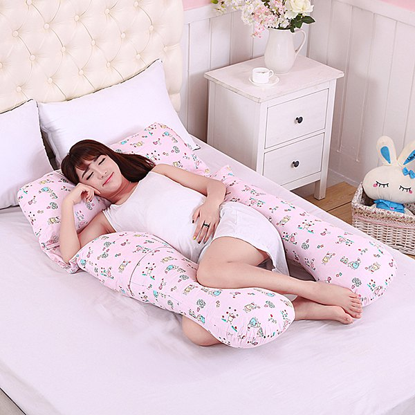 Soft Cartoon Rabbit Pattern Multifunction Detachable U-Shaped Pregnant Body Pillow - PINK