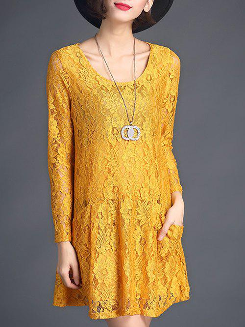 Drop Waist Lace Mini Dress - GINGER XL