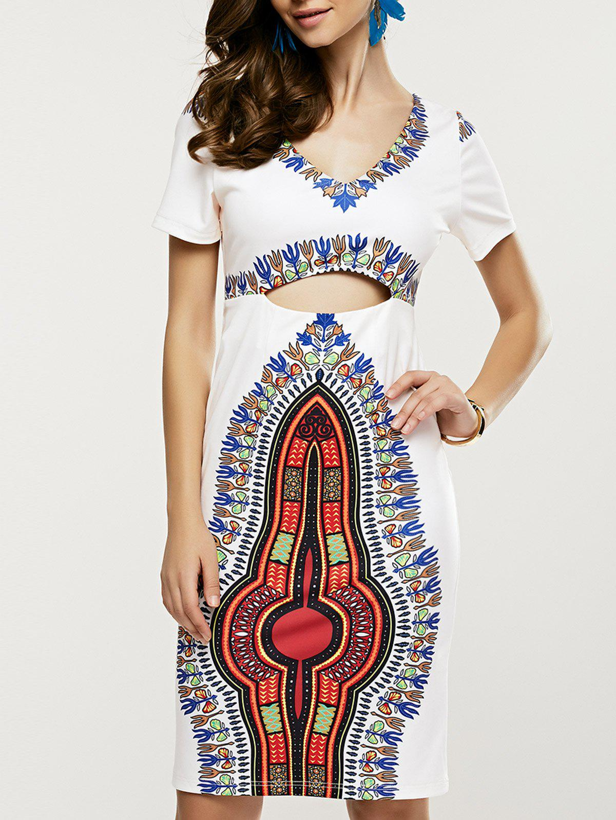 Ethnic Tribal Printing Cut Out Bodycon Dress - WHITE XL