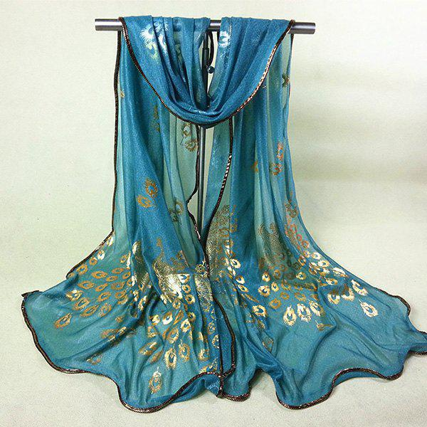 Chinese Yunnan Peacock Gilding Covered Edge Soft Scarf - TURQUOISE