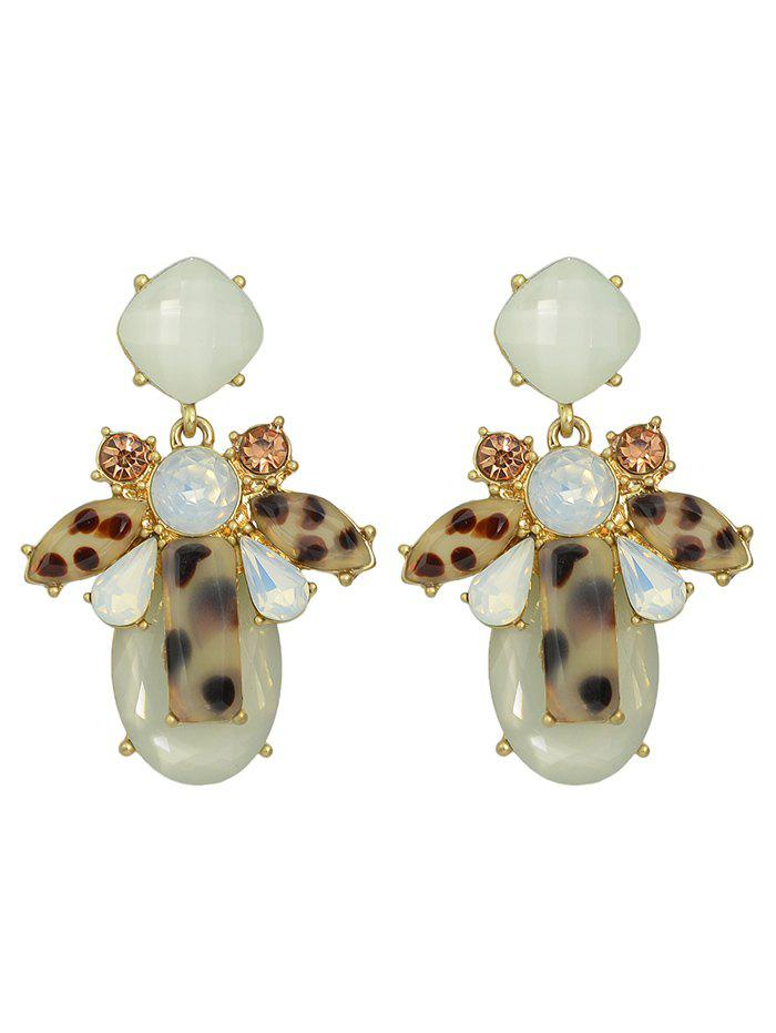 Faux Crystal Water Drop Geometric Earrings - BEIGE
