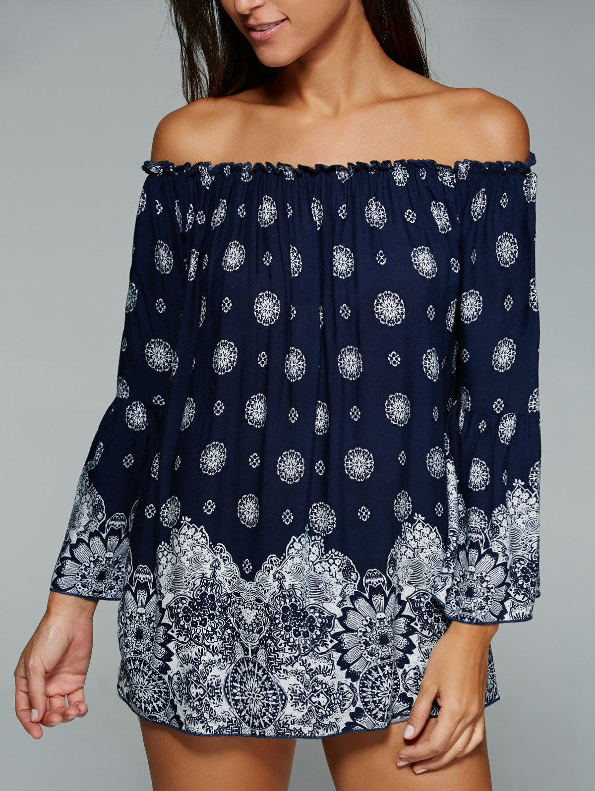 Ethnic Style Off The Shoulder Tribal Print Blouse - PURPLISH BLUE XL